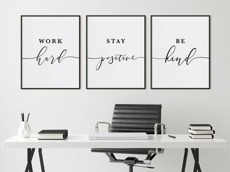 White Office Decor, Black And White Office, Office Wall Decor, Office Walls, Decorating Office At Work, Office Ideas For Work, Office Cubicle Decorations, Cheap Office Ideas, Work Office Organization