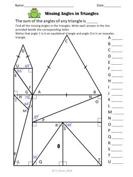 Missing Angles In Triangles Triangles Angle Sum Theorem Angles Math Teaching Geometry Triangle Math