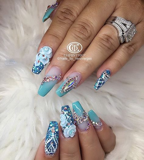 Blue White Green Rose Glower Mermaid Turquoise White Acrylic Coffin Nails Manicure - French tip - Square shaped long nails - cute summer fall spring fingernails ideas- gel nails - shellac -