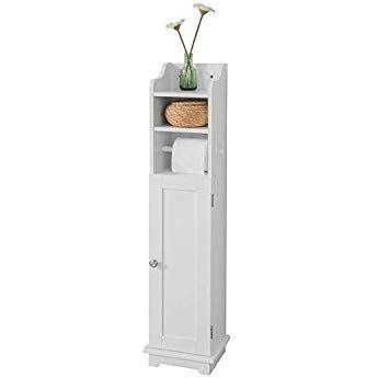 Sobuy Frg177 W Support Papier Toilette Armoir Toilettes Porte Brosse Wc En Bois Blanc Tall Cabinet Storage Locker Storage Storage Cabinet