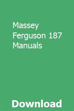 Massey Ferguson 187 Manuals Manual Physical Chemistry Sharing