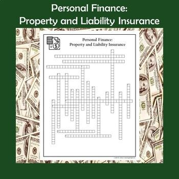 Personal Finance Property And Liability Insurance Crossword Puzzle