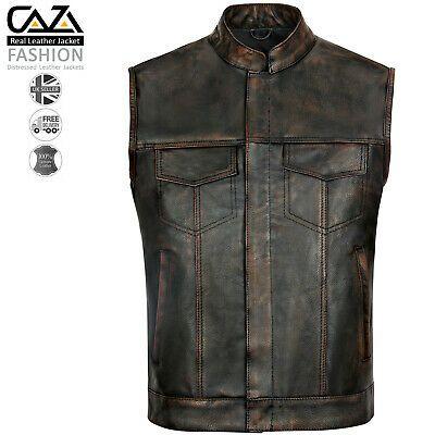 Mens Sons Of Anarchy Genuine Real Leather Motorcycle Biker Gillet Waistcoat Vest Ebay Motorcycle Leather Vest Cafe Racer Jacket Real Leather