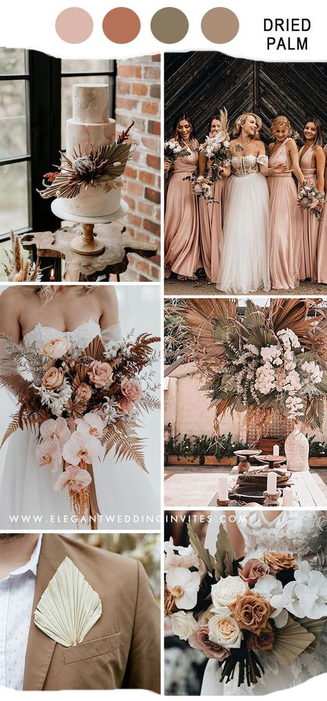 dried palm boho rustic fall wedding inspiration for 2020 & 2021 wedding trends Pink Fall Weddings, Winter Wedding Colors, Summer Wedding, April Wedding Colors, Greek Wedding, Beach Weddings, Winter Theme, Destination Weddings, Beige Wedding