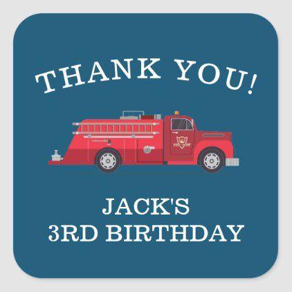 Modern Vintage Fire Truck Fire Engine Firefighter Square Sticker Zazzle Com Fire Trucks Firetruck Birthday