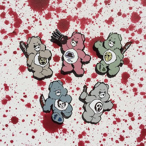 These Care Bears horror enamel pins combined with our favorite icons of the genre just may end up on your ETSY favorites list. Proud Mom Quotes, Cousin Quotes, Daughter Quotes, Care Bear Tattoos, Little Brother Quotes, Horror Art, Horror Icons, Cool Pins, Care Bears