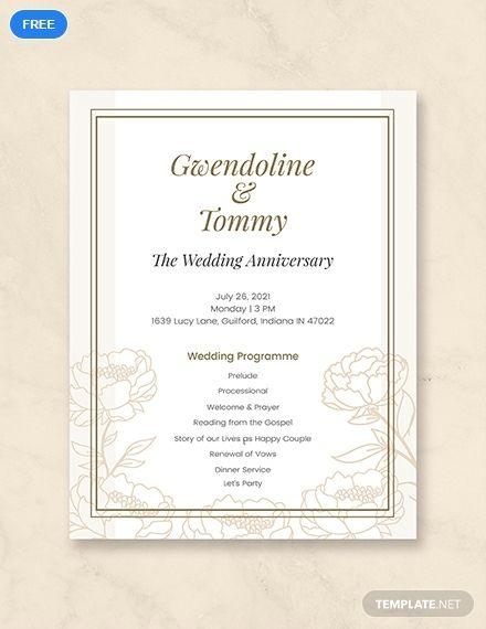 Free Wedding Anniversary Program Template Word Doc Psd Apple Mac Pages Illustrator Publisher Wedding Program Template Free Wedding Programs Template Wedding Anniversary Invitations