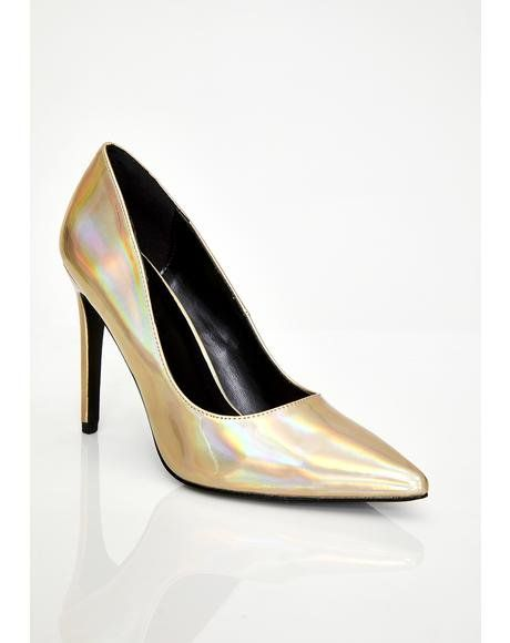 044c3877b30 Golden Cosmic Fantasy Hologram Heels | Shoes | Heels, Shoes ...