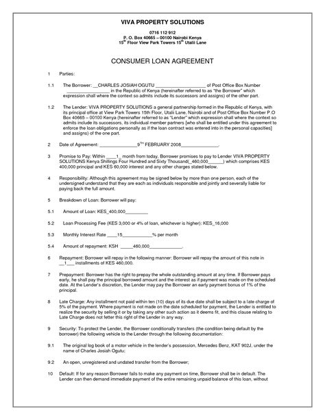 Simple Loan Contract by VivaProperty - simple loan contract - tractor mechanic sample resume