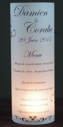 menu photophore mariage pas cher