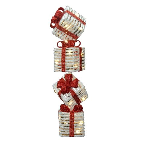 Creatively stacked and tilted presents give the National Tree Company Pre-Lit 33 in. Sisal Gift Box Tower a statuesque, vertical silhouette filled. Christmas Cake Pops, Christmas Party Themes, Outdoor Christmas Decorations, Table Decorations, Centerpieces, Christmas Shopping, Christmas Home, Christmas Crafts, Christmas Ornaments