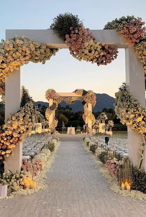 In our gallery of wedding arch decoration ideas we have details of flower decor, whole composition and awesome photos of lovely couples under arches. Wedding Places, Wedding Venues, Wedding Ceremony, Reception, Arch Decoration, Wedding Entrance, Outdoor Wedding Decorations, Ceremony Decorations, Flower Decorations