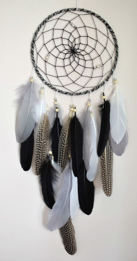 Silver Gray Black Dream Catcher Feather Dreamcatcher Wall Hanging, Gift For Men Wall Hanging Decor