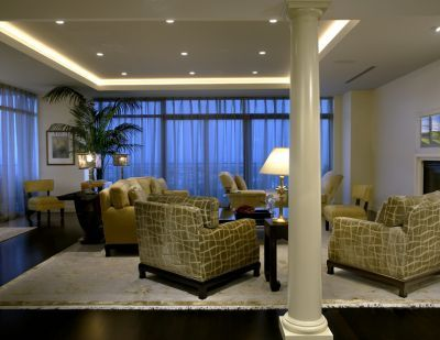Soft Lighting Columns And Soffit Ceiling Were Added To This Living Room Soften The Modern Lines Of Building All Upholstered Furniture