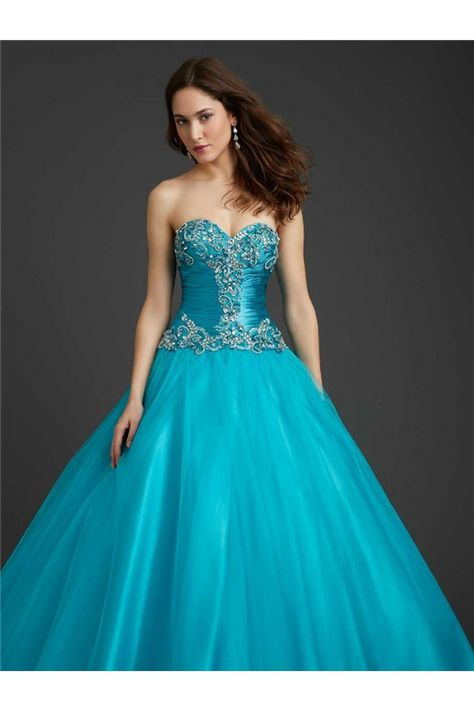 Satin Strapless Beaded Corset Ball Gown from Camille La