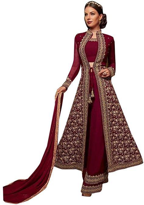 Georgette Muslim Palazzo Long Party Muslim salwar Kameez Indian jalabeya Arab Dress Suit 8123 (Green): Buy Online at Best Price in UAE - Amazon.ae