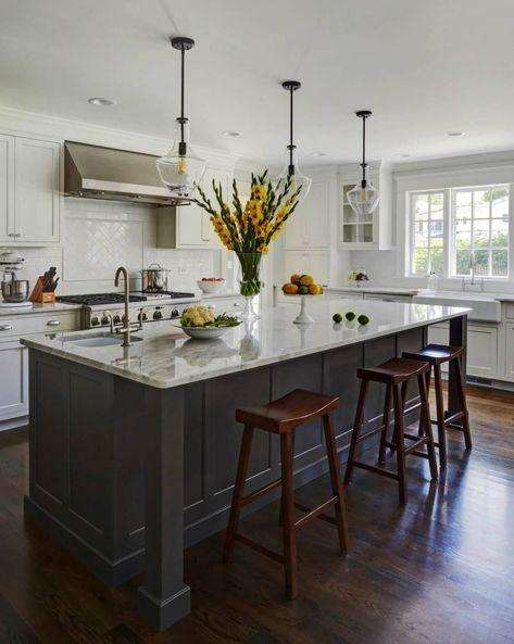 lightairykitchen  grey kitchen island black kitchen
