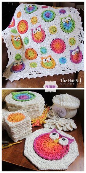 New Pictures granny square decke Strategies Owl Granny Square Blanket Crochet Pattern Crochet Afghans, Crochet Diy, Crochet Stitch, Crochet Squares, Baby Blanket Crochet, Crochet Crafts, Crochet Projects, Crochet Ideas, Crochet Owl Blanket Pattern