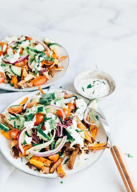 Vega kapsalon met zoete aardappelfriet - Uit Pauline's keuken #vega #vegetarian #recept #uitpaulineskeuken #vegetarischerecepten