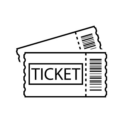 Ticket Line Art Outline Ticket Icon Vector Stock Vector Art More Images Of Abstract Istock Line Art Icon Typography Poster