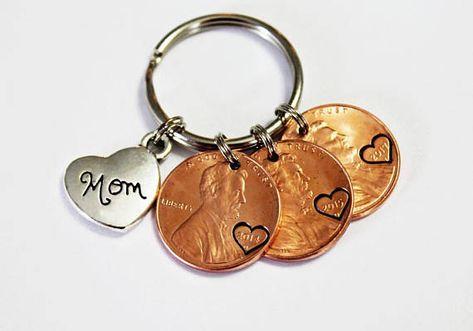 Mom.  Personalized Keychain. Lucky Keychain. Mom Gift. Penny