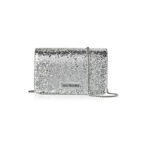51a7c73c6e Love Moschino Handbags Evening Bag Silver Eco-Leather Clutch w/Chain...  (530 BRL) ❤ liked on Polyvore featuring bags, handbags, clutches, silver,  ...