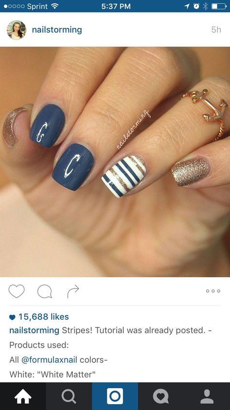 Nautical Nail Designs, Nautical Nails, Striped Nail Designs, Shellac Nails, Diy Nails, Jamberry Nails, Shellac Nail Designs, Nagel Bling, Blue Nails