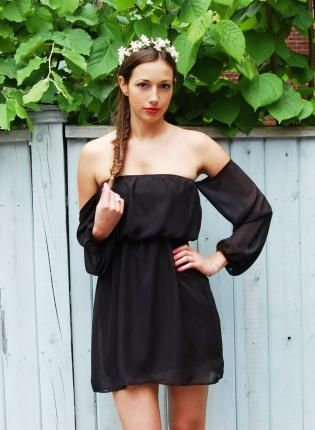 b266eb043bef Black Chiffon Off the Shoulder Dress with Sheer Sleeves