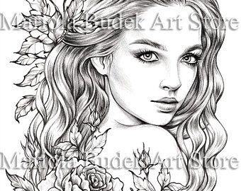 Lady Spring Mariola Budek Premium Coloring Page In 2020