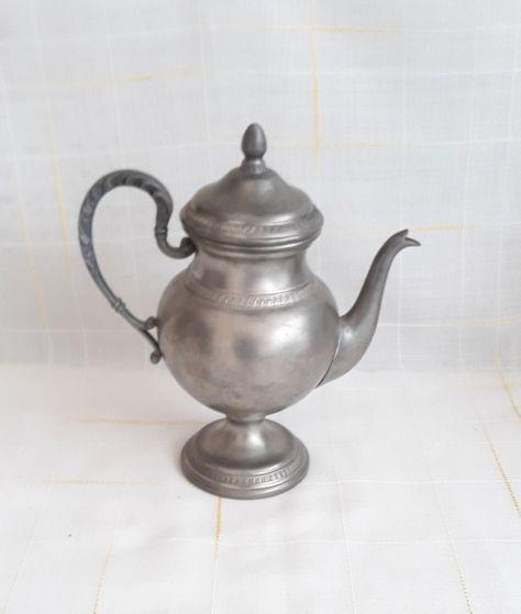Vintage Italy Coffee Pot Pewter Teapot 95% Pewter Pitcher with Spout, Vintage Table Decor Serve Tea Decorated Pewter Pitcher Vintage Decor