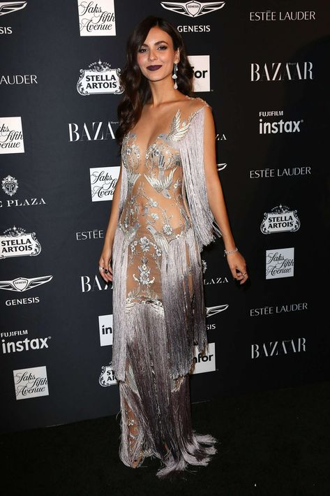 Victoria Justice Sheer Dress at 2018 Harper's Bazaar ICONS Party in New York -