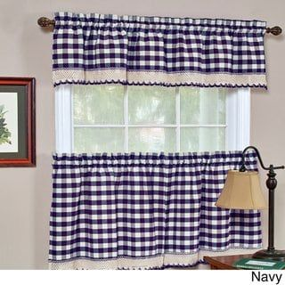 Achim Buffalo Checkered Valance Yellow Black Polyester Blend Valance Curtains Colorful Curtains Kitchen Curtains