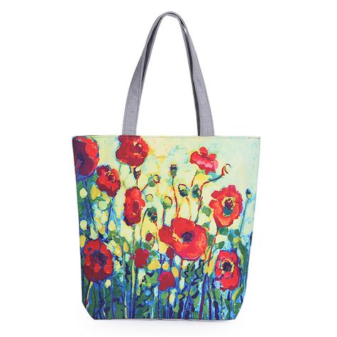 f1e264b6eb4 Modern Art Designer Inspired Poppy Floral Canvas Tote Beach Bag Shopping Bag  - Red (Poppy Tote)