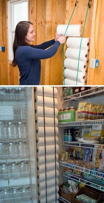 15 Genius Tips for Creating Hanging Pantry Storage 4 eye bolts and 2 bungee cords can help you get rid of the issue of storing paper towels Ideas Para Organizar, Home Hacks, Closet Organization, Organization Ideas For The Home, Home Storage Ideas, Clever Storage Ideas, Moving Organisation, Kids Clothes Organization, Garage Workshop Organization