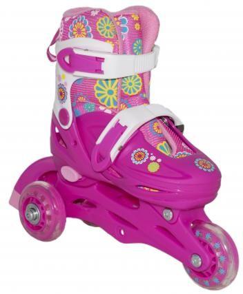 Patins Infantil Roller Skate 3 Rodas Vermelho Tamanhos 2 35 Bbr