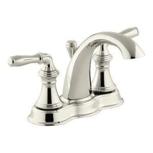Kohler Devonshire 4 In Centerset 2 Handle Mid Arc Water Saving Bathroom Faucet In Vibrant Polished Nickel K 393 N4 Sn T Sink Faucets Bathroom Faucets Faucet