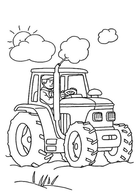 print coloring image Dump trucks and Free printable - copy simple tractor coloring pages