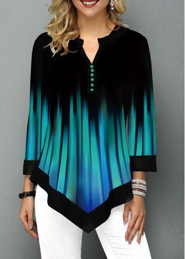 hot sale online exquisite design online for sale Asymmetric Hem Castle Print Three Quarter Sleeve T Shirt ...