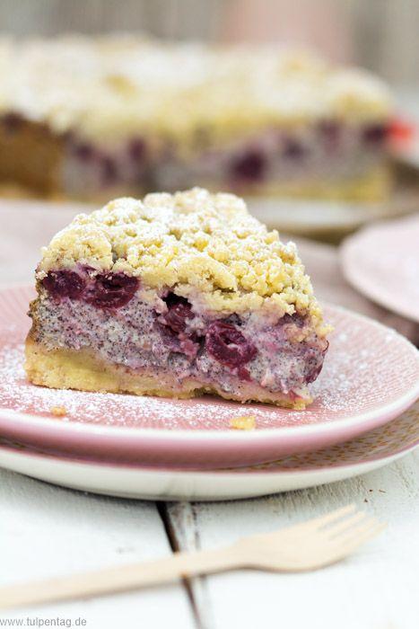 Streuselkuchen Mit Quark Mohn Und Kirschen Streusel Kuchen Quark Streuselkuchen Streuselkuchen