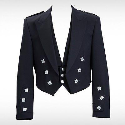 All Size Boys /& Mens Navy Scottish Prince Charlie Kilt Jacket /& Waistcoat//Vest