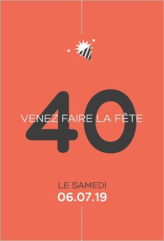 Préférence carte invitation anniversaire 40 ans femme | carte invitation  CT26