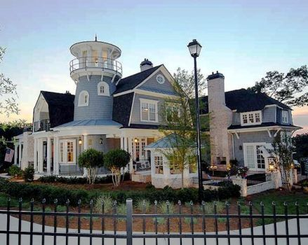 Large Home With Faux Lighthouse Tower 80 Pieces House Exterior House Plans Dream House