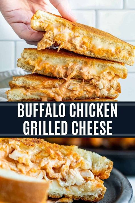 Buffalo Chicken Grilled Cheese Recipe - Sandwich and Wrap Recipes - This Buffalo Chicken Grilled Cheese Sandwich is the best easy dinner or lunch recipe. Ready in unde - Buffalo Chicken Grilled Cheese, Buffalo Chicken Sandwiches, Grilled Cheese Burger, Chicken Sandwhich, Grilled Buffalo Chicken, Buffalo Chicken Wraps, Buffalo Chicken Recipes, Grilled Chicken Sandwiches, Grilled Cheeses