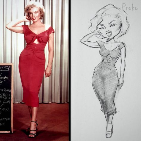 Here's an example of how Court Jones exaggerates Marilyn Monroe's body. He's uploaded 8 narrated demos to the premium caricature course! #drawing #celebrity
