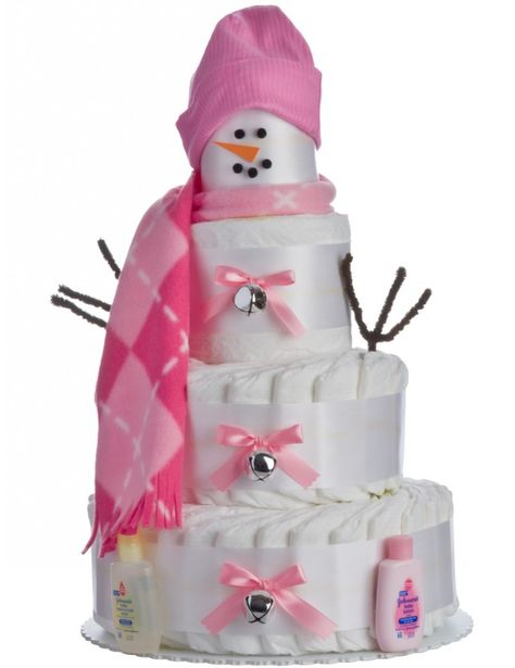 Holiday Snow Girl Diaper Cake by Lil' Baby Cakes