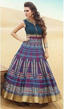 Multiple Color Bhagalpuri Silk Fabric Aline Style Party Readymade Dresses with Dupatta | FH449070549