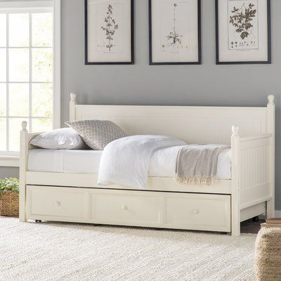 Reasor Twin Daybed With Trundle Daybed With Trundle Twin Daybed With Trundle White Bed Frame