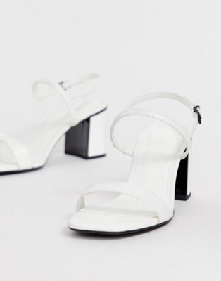 598265f9844 Bershka block heel strappy sandals in white in 2019 | shoes ...