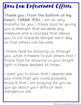 Sweet Blessings: A Prayer for Our Law Enforcement Officers