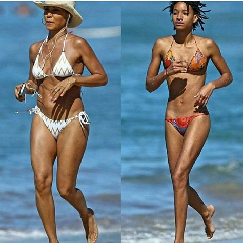 Jada Pinkett, 45 and her daughter Willow Smith hit the beach in bikinis. She gave her daughter a good run as they both had fun together.